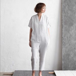 Striped Linen Jumpsuit from OffOn